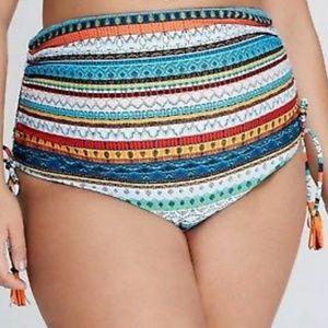 Cacique | High Waisted Multi-Stripe Bikini Bottoms
